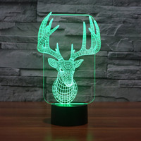 Colorful USB Cute 3D Christmas Deer Bedroom Office Décoration de la maison Bureau Lampe de table Child Night Lights Cadeau de Noël -147