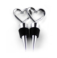 Wholesale f twist - Red Wine Stopper Zinc Alloy Heart Shape Bottle Stoppers Twist Cork Wedding Favor Gifts Bar Tool Silver Color 2 4tt F R