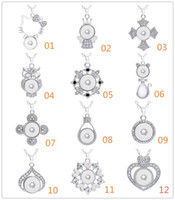 Wholesale Wholesale Rhinestone Crown Pendants - NOOSA Metal Heart Owl Cross Crown Pendant 316L Stainless steel Chain Charm Necklace Ginger Snap Button Necklaces For Women Snaps Jewelry