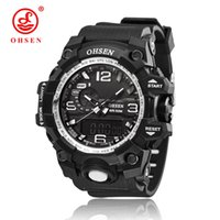 Wholesale Lcd Auto Clock - Top Sale OHSEN Brand Fashion Digital Sport Watch Men Quartz Wristwatches Rubber Band White Waterproof LCD Watch Male Hand Clock Hombre Gift