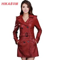 Wholesale Ladies Hooded Leather Jacket - Wholesale- Leather Jacket Women Top Fashion New Plus Size Slim Dual Use Pu Removable Ladies Faux Synthetic Long Leather Trench Coat Female
