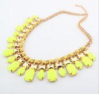 Wholesale Gem Weave - Wholesale Colorful Gemstone Clavicle Chain Bohemia Resin Gem Bib Statement Necklaces Short Weave Chain Pendant Necklace Jewelry for Women