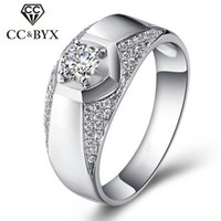 Wholesale Mens Diamond Rings Wholesale - Wholesale 925 Sterling Silver Mens Rings Fashion Jewelry CZ Diamond Wedding Ring Bridegroom Love Promise Party Hombre CC699