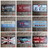 Wholesale Beach Bar Signs - Antique License plates retro metal tin signs love las vegas beach happy wall decoration plaque vintage iron painting art pub bar craft gift