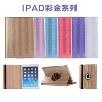 Wholesale Bling Dust Cover - New Luxury 360 Rotating Colorful Bling Flip Stand PU Leather Case Smart Cover For iPad 2 3 4 5 6 7 Air Air2 Mini Mini4 Pro 9.7 inch