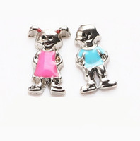 Wholesale Enamel Charm Letters - 20pcs lot Free shipping Enamel Cute Girl Boy Floating Charms For Living Glass Locket