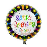 foil mylar cartoon balões venda por atacado-Preto Feliz Aniversário Palavras Foil Mylar Balão, Bolo Dos Desenhos Animados Balão Brinquedos para Decoração de Aniversário Do Bebê