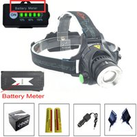 Wholesale T6 Lamp Plug - 2000Lm Headlamp T6 LED 3-mode Zoomable Waterproof Headlight Head lamp Light+2x18650 battery+EU US AU UK Plug Car Charger