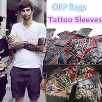 nuevos diseños de tatuaje de estilo al por mayor-Nuevo estilo de Nylon sin costuras Elástico falso tatuaje temporal manga diseños cuerpo brazo manga tatoo para hombres frescos mujeres sleevelet 2177