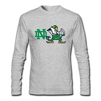 Wholesale Diy Notre Dame - 2018 Congjun Shen Men's DIY Long Sleeve Notre Dame Logo T Shirt XX Large Grey