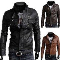 Wholesale Epaulette Jackets Collar - Men's Slim stand collar Top Designed Sexy PU Leather Short Men epaulette pocket zipper motorcycle leather jacket Free Shiping