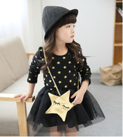 Wholesale Kids Dresses Years - Autumn Children Dress Kids Girls Stars Lace Dress Tutu Dress 2-7 Year Kids Clothing 5p l