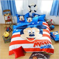 Wholesale Cartoon Juegos De Sabanas Mickey Sheet Duvet Cover Pillowcase Cotton Bed Set Queen King Twin Bed Linen Juegos De Sabanas