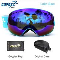 büyük kutu gözlükleri toptan satış-Kayak gözlükleri çift lens UV anti-sis büyük küresel kayak snowboard kar gözlüğü GOG-201 + Kutusu Kasa sıcak satmak