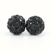 New Arrival Jet Shamballa Crystal Loose Beads Full Rhinestone Spacer Beads Tamanho 6mm, 8mm, 10mm, 12mm 100pcs / bag