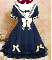Wholesale School Sailor Outfits - Wholesale-LOLITA Bowknot Dolly Dress Princess Sweet Short Sleeve Gril Pleated School Sailor Costume Outfit 038-454 B