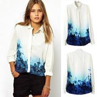 Wholesale Retro Style Blouses - Autumn Spring New Brand Printing Waist Fashion Style Retro Plus Size Stand Collar Full Sleeve Chiffon Shirt Vintage Women Blouse