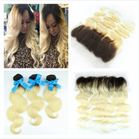 Wholesale Two Tone Colored Brazilian Hair - Brazilian Blonde Ombre Hair With Lace Frontal Closure 13x4 Body Wave 1B 613 Two Tone Colored Brazilian Human Hair 3bundles With Frontals