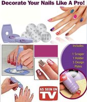 Wholesale Stamping Nail Art Design - Nail Art DIY Polish Stencil Stamping Nail Art Printing Machine Manicure Set Girls Design Nail Art Tools Equipment Free shipping