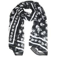 Wholesale Long Gloves For Men - Wholesale-Black Chiffon Silk Skull Print Long Scarf Shawl For Women + Keyring