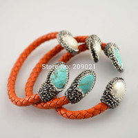 Popular 5Pcs Druzy Turquoise Stone Pearl Pave Rhinestone Crystal Orange Leather Cuff Bangles Bracelet Jewelry Finding