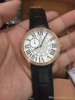 Wholesale Dimond Watches - 2016 new Christmas Gift Luxury New swiss quartz chronograph dimond dial Women's black red brown strap ladies Watches fashion wristwatch