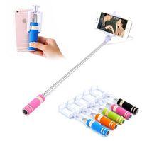 selfie monopod shutter toptan satış-Mini S3 Özçekim Sopa Kablolu Oluk Monopod Dahili Kepenk Uzatılabilir Selfie iPhone Samsung Herhangi Telefonlar Için Kamera Perakende pacakge