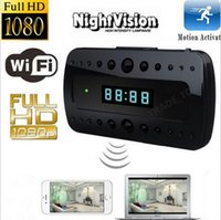 Wholesale Spy Clock Hd - Spy camera wireless LCD clock Camera Night vison 1080P HD Wifi Hidden Cameras Mini Camcorders P2P Clock H.264 Video recorder motion detect