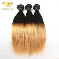 brezilya dalgalı ombre saç uzantıları toptan satış-Brezilyalı Ombre Saç İnsan Saç Uzatma Düz Dalgalı Saç Örgüleri Boya # 1B # 27 Renk Ombre İnsan Saç Ücretsiz Nakliye Saç