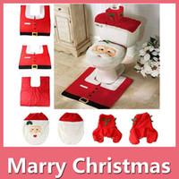 Wholesale White Bathroom Rug Set - 3 Pcs Christmas Gift Santa Toilet Seat Cover Rug Bathroom Set Christmas Decoration Party Decoration DHL Free 161014