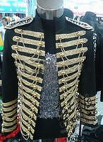 roupa de cantor de desempenho venda por atacado-Homens grande plus size jaqueta blazer desempenho preto vermelho masculino ds masculino real roupas estrela stage DS nightclub cantor terno traje