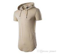 Wholesale Sleeve Extra Long Shirt - New Mens Longline Hoodies Men Fleece Solid shirts Fashion Tall hoodie hip hop side zipper streetwear Extra Long Hiphop