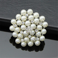 Wholesale china bouquet - Crystal Pearl Bouquet Brooch Pins Silver Gold Brida Bridagroom Wedding Jewelry Gift for Women Men Drop Shipping