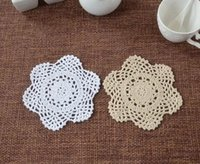 Wholesale Lace Cup Holders - Wholesale- 15CM DIY Cotton table place mat pad cloth crochet placemat cup coaster lace round doily mug holder hot dining kitchen utensils