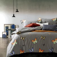 Moda Grey Queen / King Size Bedding Sets Alfaias de algodão egípcio Customized Butterflies Duvet Cover + Flat Sheet + Travesseiros