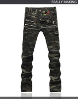 Wholesale Rock Punk Style Bags - 2016 Hot Mens Males classic Fold Style Top Quality Punk Rock Nightclub DS DJ Camo Bags pant Men's Slim jeans Hairstylist Multi-zipper pants