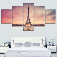 Wholesale Paris Canvas Wall Art - 5 Pcs Modern Paris Effiel Tower Painting Picture City Building Bridge Landscape Painting Canvas Wall Art No Frame