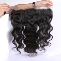 Wholesale Cheap Quality Malaysian Hair - 13x2 Lace Frontal Closures 100% Unprocessed Brazilian Body Wave Human Hair Cheap Lace Frontals Free Part With Bleached Knots 8A Best Quality