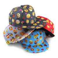 Wholesale Flat Children Caps - 2016 New cartoon QQ Emoji pattern caps children Baseball cap flat along Parental hip hop Emoji pattern hats B799