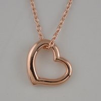 Wholesale Pure Gold Necklace Chain - Hot Sale Rose Gold Plated Fashion Link Chain Necklaces Carve Pure Heart Romantic Gifts For Anniversary