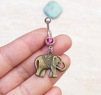 2pcs Elephant Belly Button Ring - Elephant Navel Ring - Belly Ring - Belly Button Jewelry - Bijoux Navel - Body Piercing - Piercing du nombril