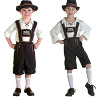Wholesale Costumes Top Hats - Boys Germany Beer Festival Clothes Funny Child Role Play Clothes Halloween Costume Oktoberfest Waiter Uniform Top + Pants+ Hat