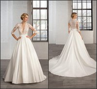 Wholesale Deep Back Lace Wedding Gowns - 2016 A Line Satin Wedding Dresses 3 4 Long Sleeve Sheer Deep V Neck Appliques Cosmobella 7746 Court Train Ruched Band Bridal Gowns
