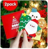 ingrosso boxed christmas cards-Liberi la nave 1 lotto = 10 scatola! Cartolina d'auguri piegante sveglia creativa / dell'organo / cartolina di Natale / carta di natale / biglietti di auguri di nuovo anno