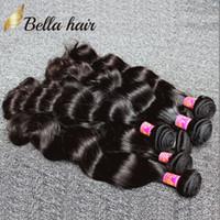 Wholesale Double Weft Indian Hair Extensions - Brazilian Hair Weaves UNPROCESSED Virgin Human Hair Wefts Indian Malaysian Peruvian Hair Extensions 3pcDouble Weft BodywaveBundles Bellahair