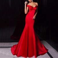 Wholesale Ombre Sweetheart Dress - Vestidos Cortos de Gala Modest Long Mermaid Prom Dresses 2017 Off Shoulder Sweetheart Red Satin Ombre Evening Party Dress Women Party Gowns