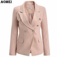 Wholesale Ladies Blazers Designs - Pale Pink Blazer Wear to Work Office Lady Tops Clothing Fall Women New Button Design Blasers 2017 Autumn Fashion Coat Chaquetas