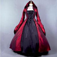 siyah gotik lolita elbiseleri toptan satış-Özelleştirilmiş 2016 Retro Uzun Kollu Siyah / Kırmızı Gotik Victoria Lolita elbise / Cadılar Bayramı Kapüşonlu Cadı elbise