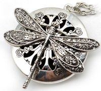 Wholesale silver dragonfly necklace pendants - 5pcs Dragonfly Design Lockets Vintage Essential Oil Diffuser Necklace Aromatherapy Lockets Pendant For Christmas Gift EXL405