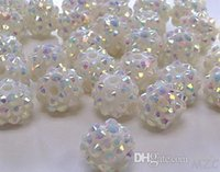 Wholesale Rhinestone Epoxy Resin Beads - Cheap! free shipping 10 mm white Color Epoxy Rhinestone,Resin Crystal Spacers Beads Jewelry Finding bead hot Wholesale! Stock!Mixed Lot!
